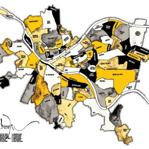 Pittsburgh Neighborhood Map - Black and Gold